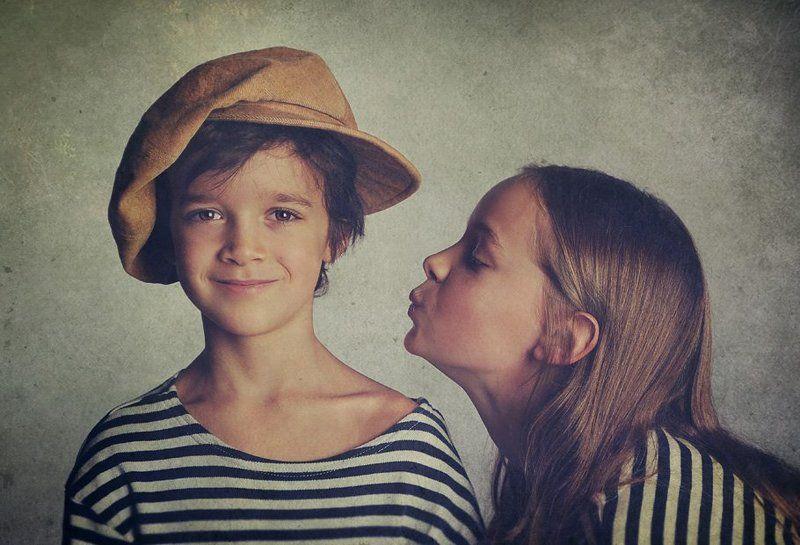 children, boy, girl, portrait, cap, picture photo preview