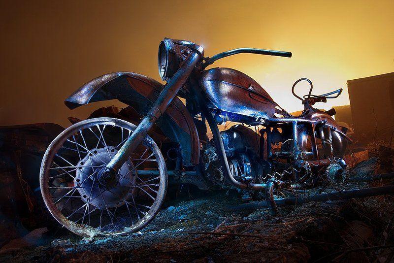 мотоцикл, световая, кисть, урал, ночь \