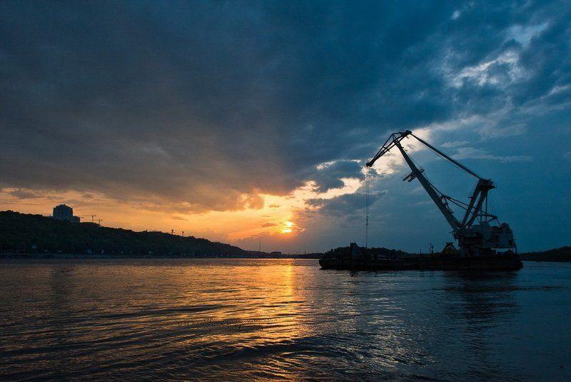 вечер, закат, лето, гидропарк, днепр,  photo preview