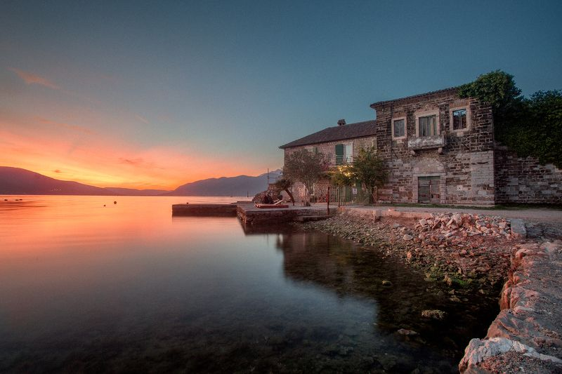 montenegro, bar, nerozya, tivat, kotor, черногория, travel, nature, europe, тиват Первый черногорский закатphoto preview