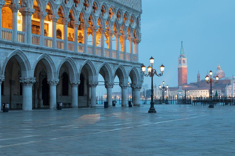 Doges Palace on Saint Mark square and  San Giorgio church , Veneziaphoto preview