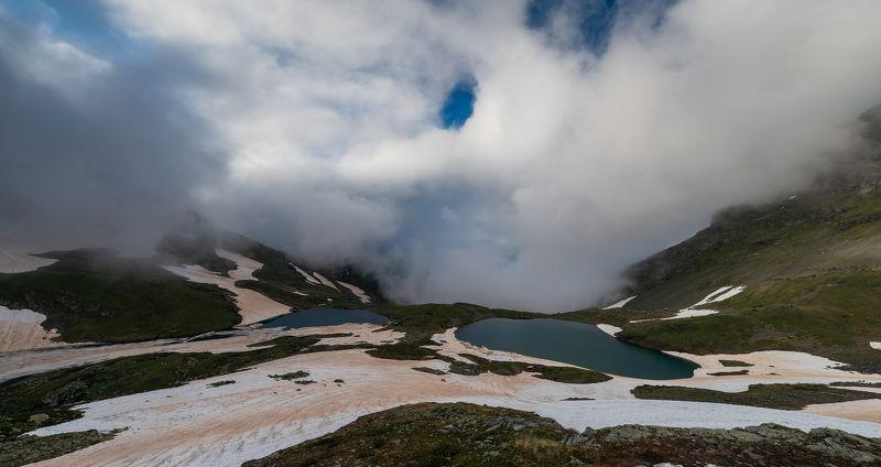 кавказ, горы, кчр, загедан, озеро, июнь, 2018 Из долины опять поползли облакаphoto preview