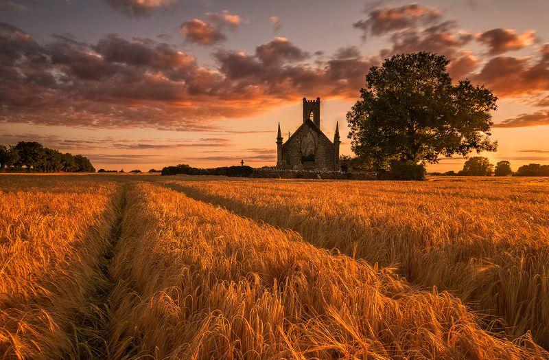 ireland sunset sky field church Ballyfanaghphoto preview