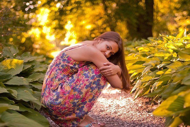 лето, солнце, сад, девушка photo preview