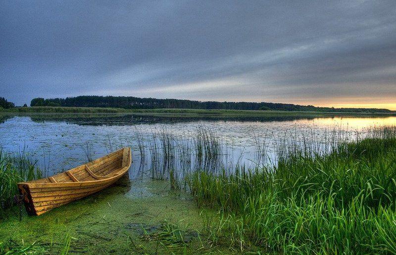 закат, лодка, озеро, дривяты, браслав photo preview