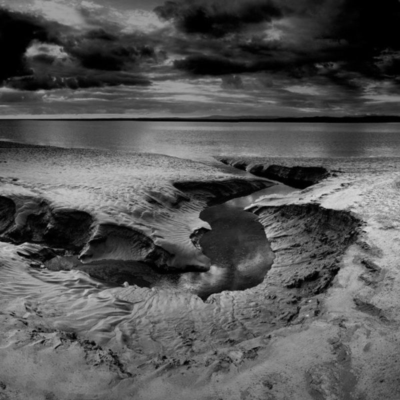 milky water, hestbank, united kingdom, england, curves, clouds, long exposure, nd400 filter, black and white photo preview