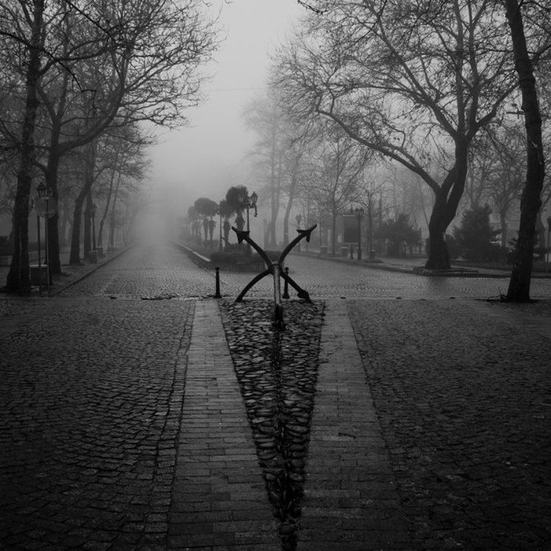long exposure, black and white, sea side, anchor, street, fog photo preview