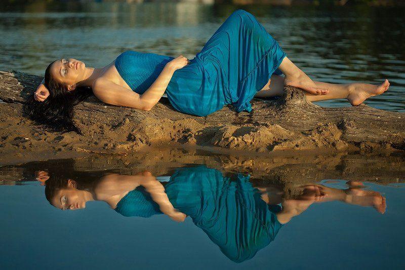 пейзаж, природа, река, модель, девушка photo preview