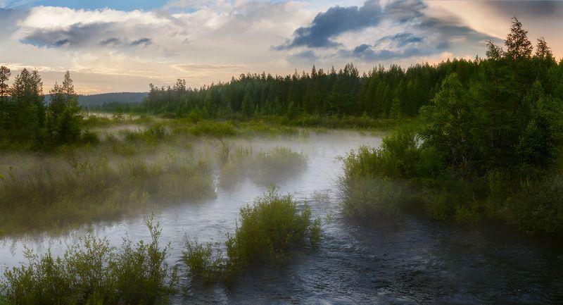 туман, река, лес, тайга, тында, амурскаяобласть, закат, Перед грозойphoto preview