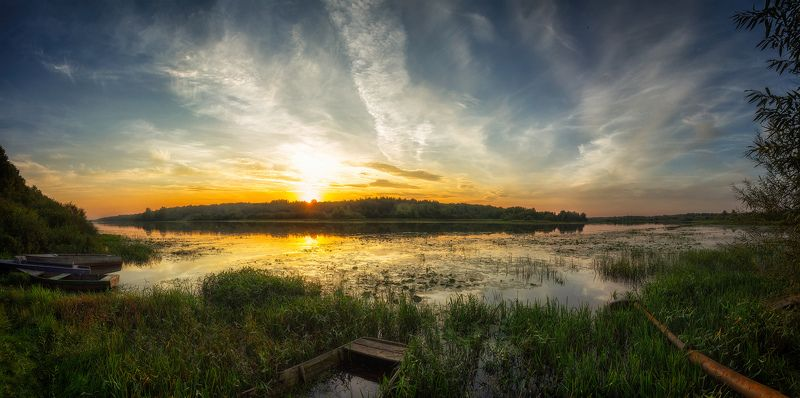 закат, лето, река, небо, облака, отражение, солнце Закатная 2photo preview