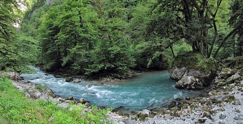 абхазия, панорама, пейзаж, природа, река photo preview