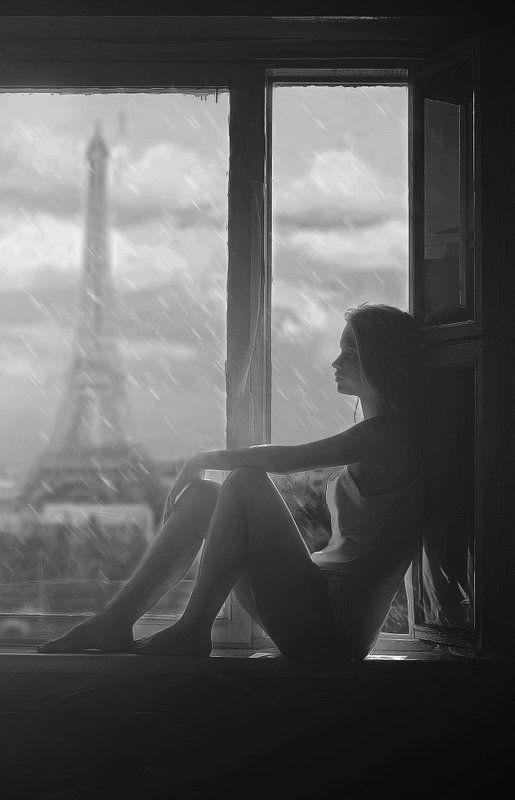 портрет, окно, девушка, фото, настя, париж, эйфелева башня, дома, сидит, грусно, пасмурно, cloudy and rainy photo preview
