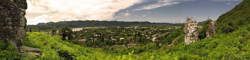 абхазия, природа, пейзаж, панорама, река, горы photo preview