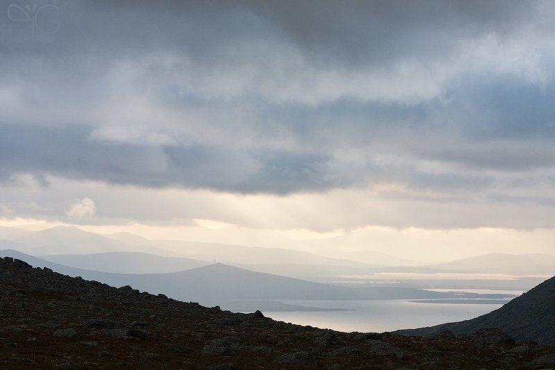 кольский, мончетундра, горы, хибины, вечер, дождь, озеро, большая, имандра photo preview