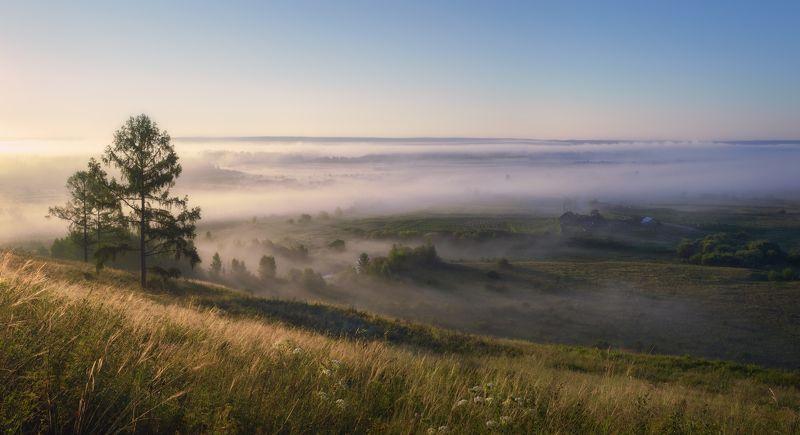 Баргадай,старое село,окраина,утро,туман,первые лучи,Bargadai, the old village, the outskirts, the morning, the fog, the first rays, Сельское утро.photo preview