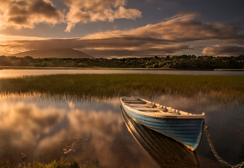 lake, ireland, sky, sunset, boat Lough Connphoto preview