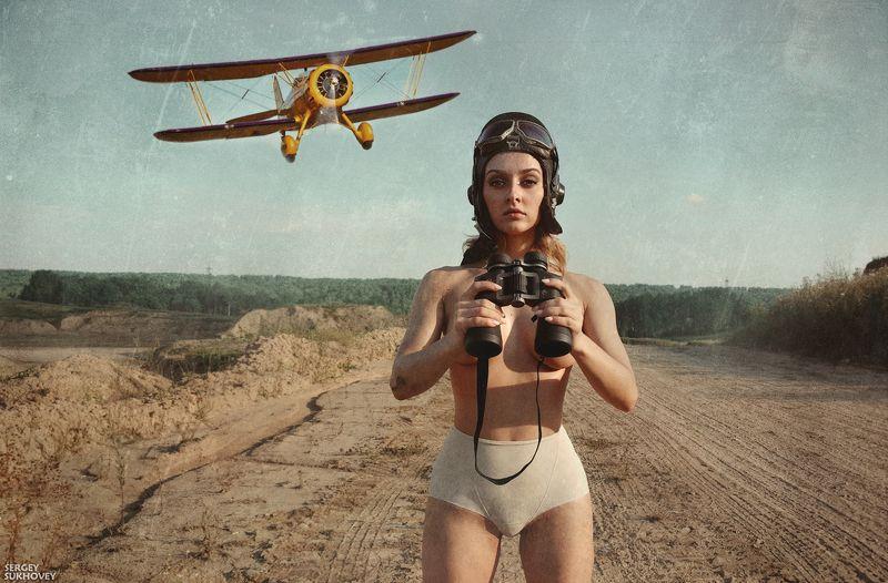 пилот, авиатор, летчик, девушка-летчик, ретро самолет, ретро фото, пинап, самолет, аэроплан Потому что мы пилоты фото превью