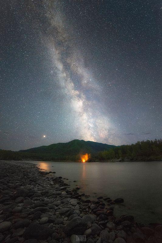 алтай, млечный путь, ночь, звезды, река, На берегу Катуниphoto preview