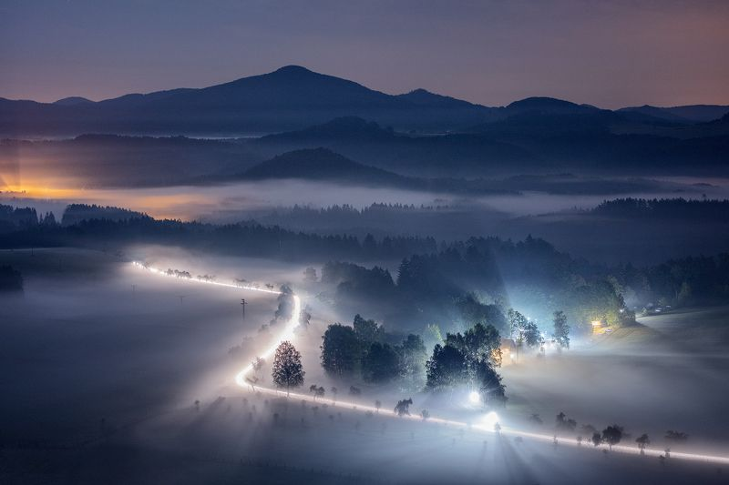 lights, car, morning, mist, fog, night, czech republic, bohemian switzerland, mountains, hills, moody, atmosphere Night Riderphoto preview