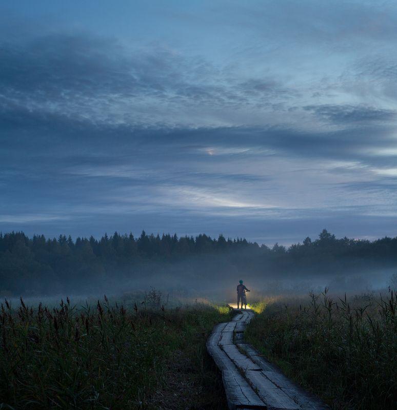 ночь, туман, россия, велосипед Туманphoto preview