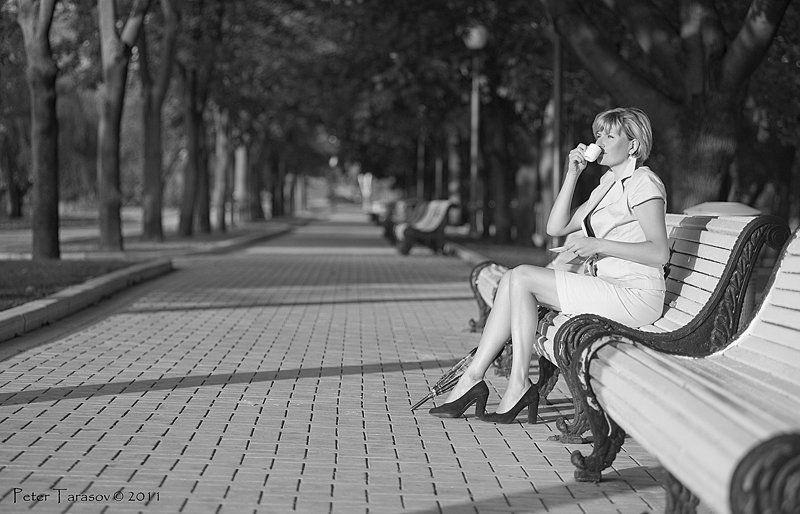 портрет, парк, кофе, утро Начало дняphoto preview
