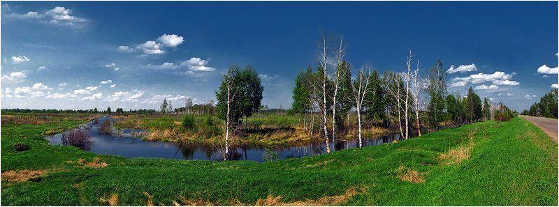 весна, природа, пейзаж, панорама По дороге с облаками...photo preview