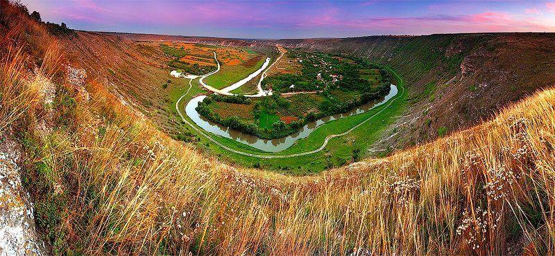 требужены, молдова, оргеев, пейзаж Закат над селом Требужень.photo preview