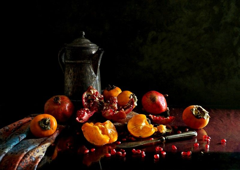 Stillife Pomegranate and dates fruit ..photo preview