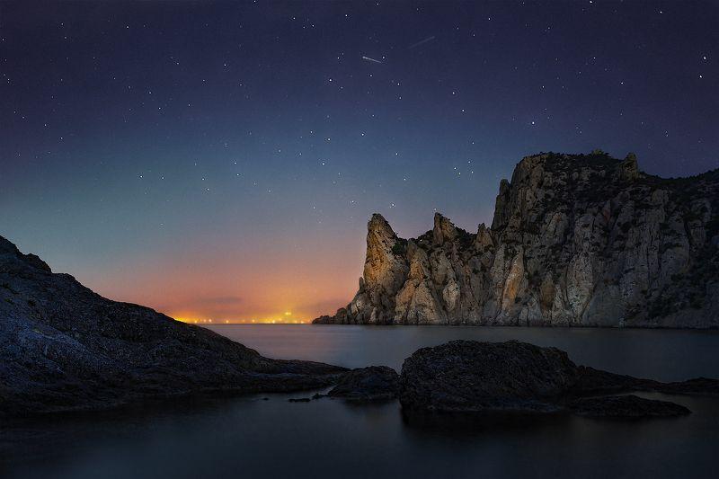 рассвет, ночь, караул-оба, новый свет, судак, звезды, гора \