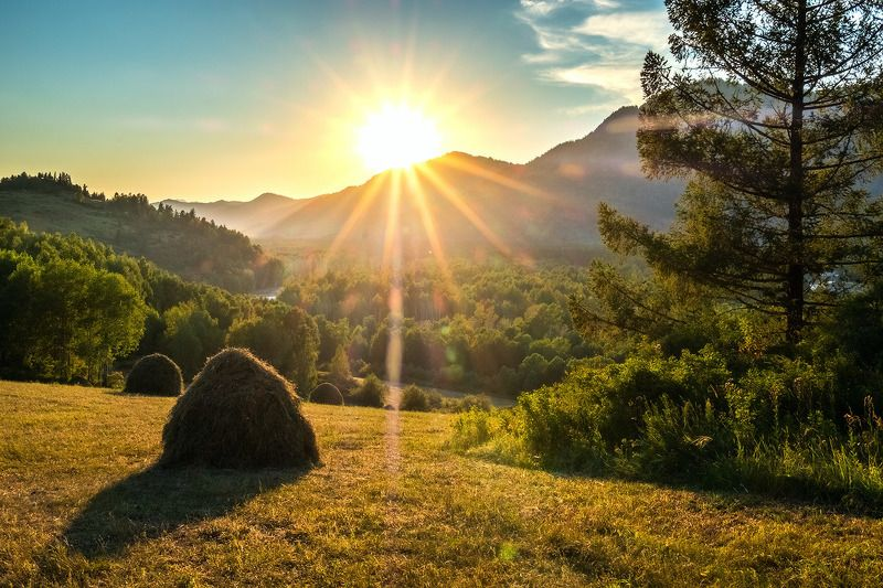 Алтай закат солнце стог  Вечера Алтаяphoto preview