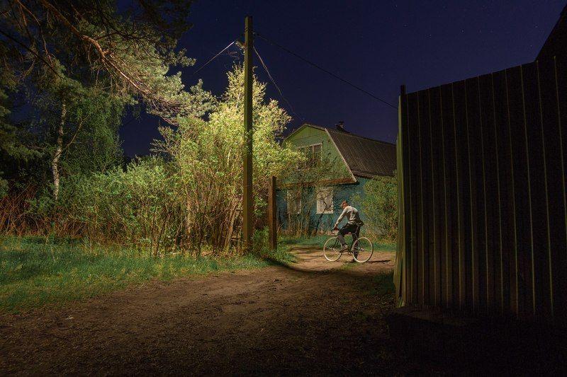 ночь  россия велосипед деревня Велопрогулкаphoto preview