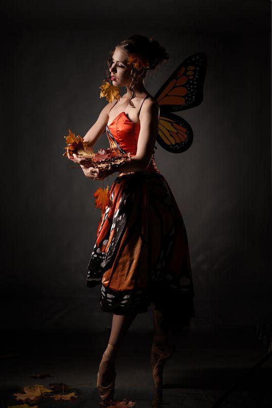 танец, осень, листья, бабочка, портрет, художественная, концептуальное, балет, тело, романтическая, постановочная, лирическая, art, davydov, фотостудия Танец бабочки (Прощание с летом).photo preview