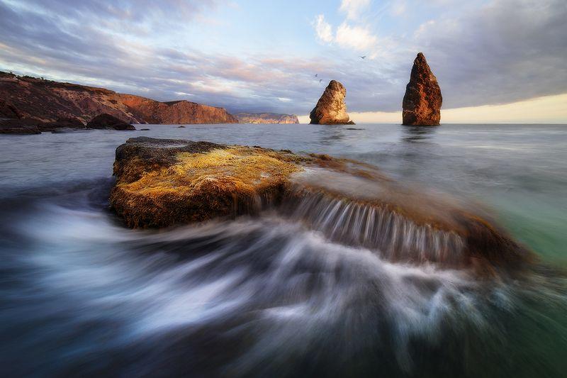 скалы, закат, море, орест и пилад, пейзаж, крым, фиолент, севастополь \