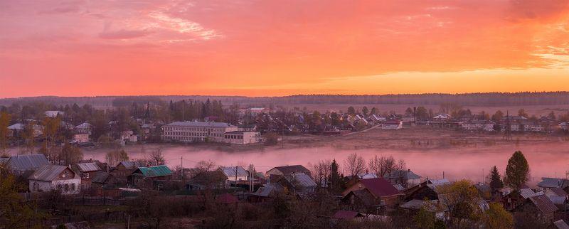 поселок, Лежнево, Россия, Иваново, рассвет туманный рассветphoto preview