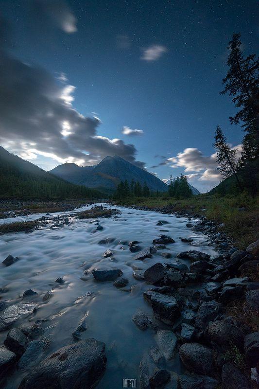 алтай, ночь, звезды, горы, река, Восход луныphoto preview