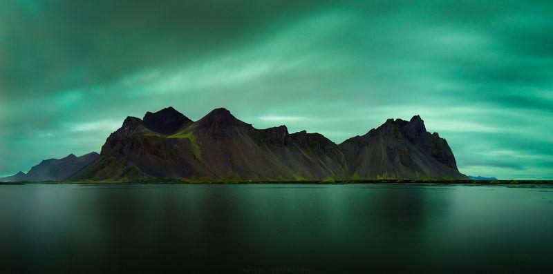 вестрахон, исландия, пейзаж, северное сияние, аврора, горы, природа, nature, aurora, aurora borealis, iceland, landscape, northern light, Vestrahornphoto preview