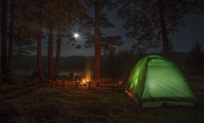 ночь туман россия луна костер Посиделкиphoto preview