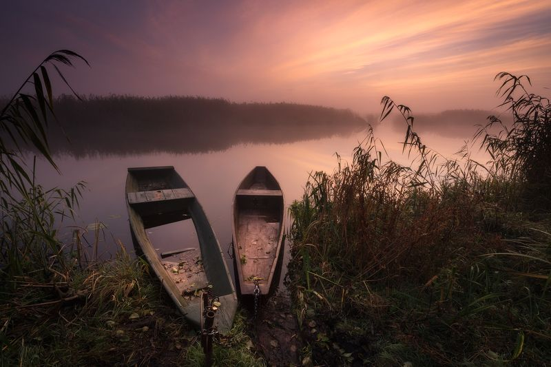 water river narew sky clouds fog mist colours clouds sunset poland podlasie mood Haron\'s boats...photo preview