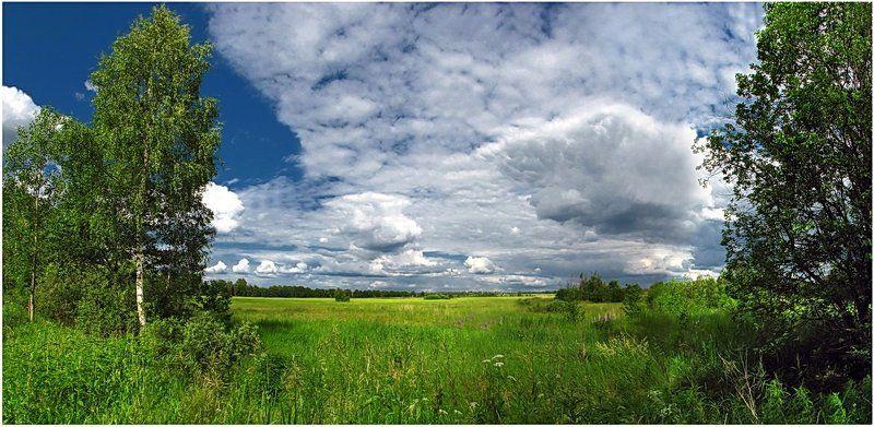 лето, природа, пейзаж, деревня Низкая облачность...photo preview