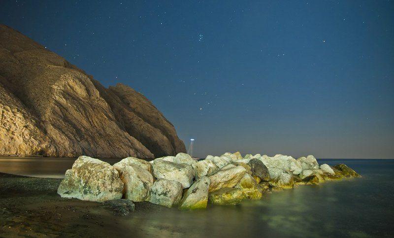 greece, santorini, perissa, night, sea, beach ***photo preview