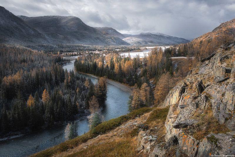 пейзаж, алтай, осень, горы, река, лес, снег Долина Коксуphoto preview