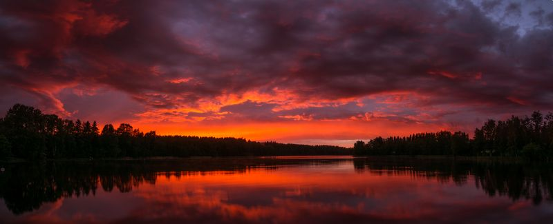 Закат, озеро, Финляндия, Ново-Валаамский монастырь, Валаам Закат на озере возле Ново-Валаамского монастыряphoto preview