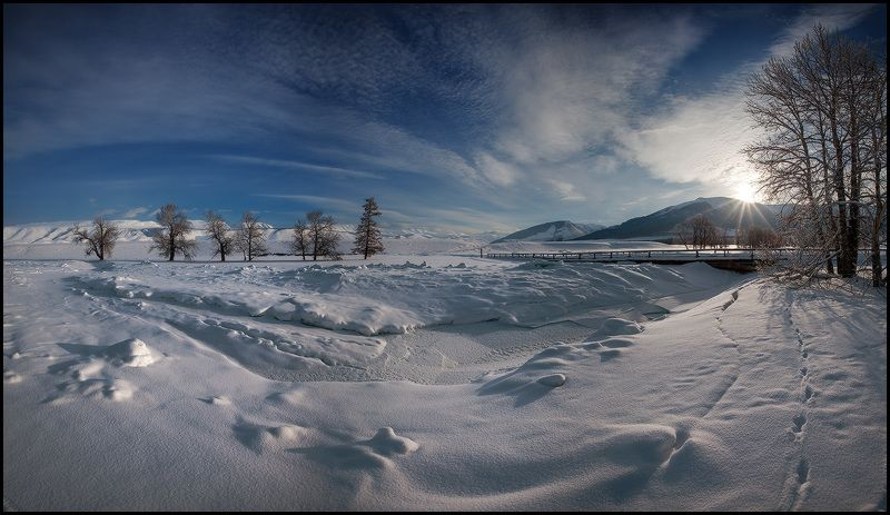 алтай, курайская степь, зима, утро, снег, чуя Утро в Курайской Степиphoto preview