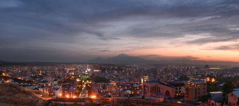 Ереван, Арарат, Армения,  Yerevan, Armenia Вечер в розовом городеphoto preview