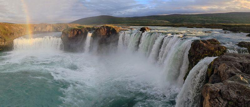 водопад, Исландия, пейзаж, путешествие, Iceland, waterfall, Godafoss, landscape Водопад боговphoto preview