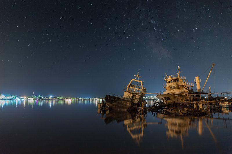 ночь, море, корабли, город Причал № 275photo preview
