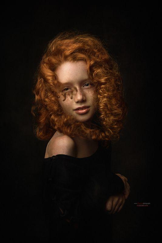 портрет, ребенок, рыженькая, конопушки, рыжие волосы, рембрандт Катяphoto preview