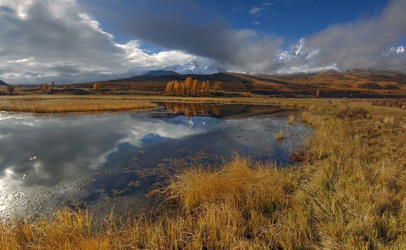 рассвет, утро, плато, ештыкёль, алтай, джангыскёль, озеро, урочище, осень, вода, желтые Утро на плато Ештыкёльphoto preview