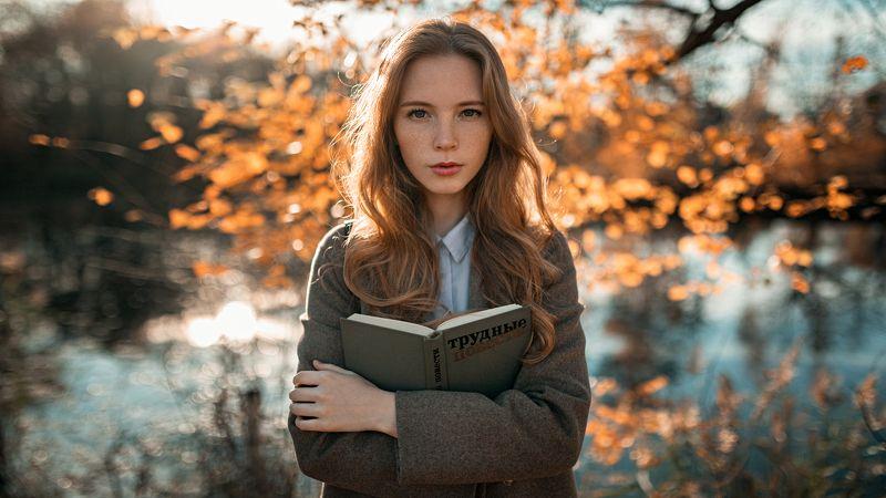 девушка, портрет, солнце, деревья, озеро Настяphoto preview
