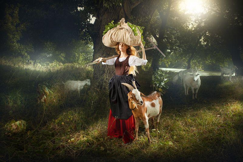 The young girl shepherding goatsphoto preview
